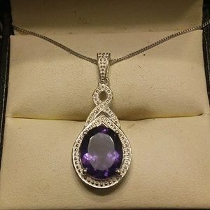 4.25ctw Genuine Amethyst Platinum/925 Sterling